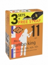 Rotosound gitaarsnaren JK11-31 Jumbo King 3-pack gratis gitaarriem light